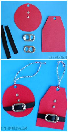 Christmas Crafts - DIY Santa Clause Gift Tags Using Soda Can Tabs! Cheap Christmas craft for kids t. Christmas Crafts For Kids, Christmas Wrapping, Christmas Projects, Winter Christmas, Holiday Crafts, Holiday Fun, Christmas Cards, Christmas Decorations, Christmas 2019