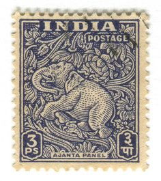 India Postage Stamp: Ajanta Caves Elephant. c. 1949 #stamp elephant postage stamp. ephemera India 1940s vintage dark blue.