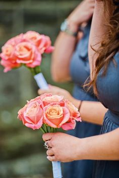 Miss Piggy coral-pink roses for bridesmaids; Real-Life Wedding Inspiration