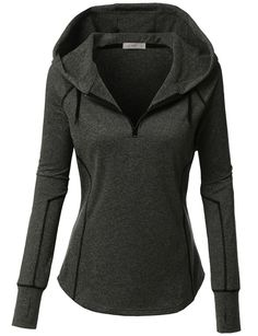 LE3NO Womens Active Long Sleeve Sports Hoodie Jacket with Thumb Hole