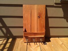 Reclaimed / Recycled Stained Pallet Wood Mail, Coat, & Key, Organization Wall Hanger
