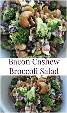 Bacon Cashew Broccoli Salad - An Affair from the Heart -- Delicious broccoli salad filled with bacon, raisins, and cashews – covered in a sweet dressing.