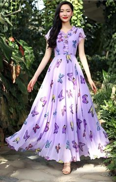 Ericdress offering cheap maxi dresses is worth your visit. Good quality maxi dresses for women on sale here, such as white floral long maxi dresses with sleeves. Indian Gowns Dresses, Cheap Maxi Dresses, Beautiful Maxi Dresses, Modest Dresses, Long Gown Dress, Saree Dress, Maxi Dress With Sleeves, Floral Maxi Dress, Chiffon Maxi Dress