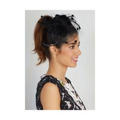 Rockabilly Topper the Charts Fascinator ($20) ❤ liked on Polyvore featuring accessories, hair accessories, black, fascinator, vintage headbands, vintage hair accessories, head wrap headband, retro headbands and beaded headband