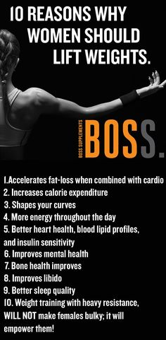 It's a shame that women often feel intimidated by the thought of lifting weights since the benefits of weight training far outweigh the benefits of cardio. Don't take this to mean that cardio isn't a useful part of an exercise regimen, but rather that cardio on its own is not going to build that shapely, toned body that most females desire. #BossSudbury