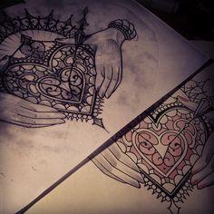 decorative heart tattoo sketch design hands holding detail ink