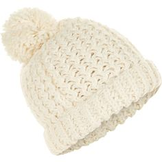 Accessorize Snow Slub Pom Beanie Hat (£23) ❤ liked on Polyvore featuring accessories, hats, chunky knit beanie, beanie cap hat, chunky knit hat, beanie cap and cold weather hats