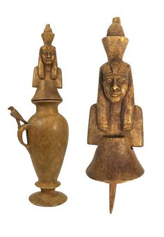 Carved brown limestone with applicator, the jar with an indented base, a handle attached to the shoulder and body of the jar, a falcon seated on the top of the handle. The applicator with the upper part of Neferetum, the youthful son of Ptah and Sekhmet connected with the rising sun. 18th Dynasty. 1570-1342 BC (1