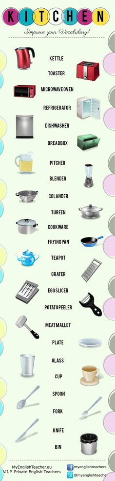 24 Tools in the Kitchen Vocabulary – Improve Your Vocabulary [Infographic] on http://www.myenglishteacher.eu/blog