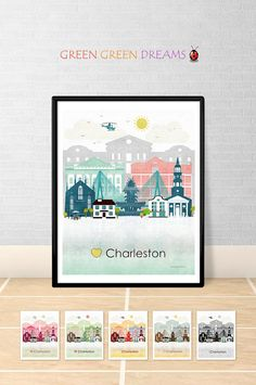 Charleston print poster wall art printable by GreenGreenDreams