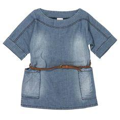 Chambray Shift Dress with Belt