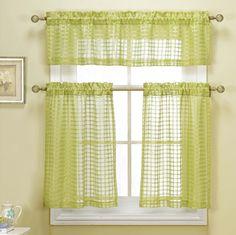 Faux Linen Check Kitchen Window Curtain Drape Tier & Valance Swag Set - White #DESIGNERLINENS #Contemporary