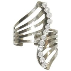 Swirl Ring with Rhinestones, Adjustable! In Crystal with Silver Finish . $5.99