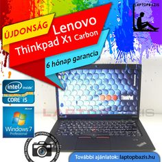 "Lenovo Thinkpad X1 Carbon Ultrabook, Intel Core i5-3427U, 8 GB RAM, SSD, 14"" HD+ LED kijelző, webkamera, Windows 7 Pro  Ár: 119 900.- Ft"