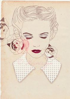 Victory rolls on short hair? Yes. #vintage #illustration