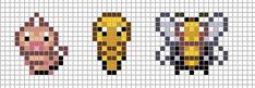 Mini: Weedle, Kakuna, Beedrill by Hama-Girl Pixel Art Templates, Perler Bead Templates, Pearler Bead Patterns, Perler Patterns, Kawaii Cross Stitch, Pokemon Cross Stitch, Pokemon Sprites, Art Pokemon, Pokemon Perler Beads