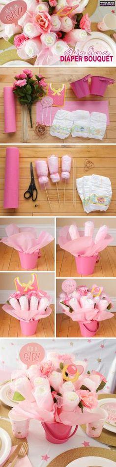 Twinkle Twinkle Pink Baby Shower DIY Diaper Bouquet