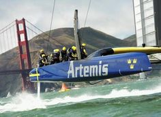 Sweden's Artemis Racing passes the Golden Gate Bridge while sailing against Italy's Luna Rossa in Race 4 of their Louis Vuitton Cup semi-finals, part of the America's Cup Challenger Series, in San Francisco Bay, California August 10, 2013. Losing by just over two minutes, Artemis Racing ended its America's Cup campaign with no wins. - PICS