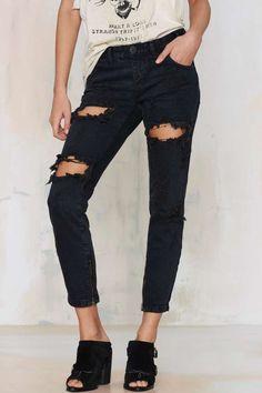 One Teaspoon Trashed Freebird Jeans - Fox Black