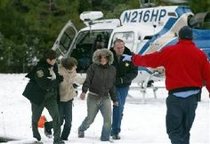 Dec. 2007: When he heard the helicopter, Frederick Dominguez went running. The helicopter was seconds from leaving the area. The Dominguez family had went Christmas tree hunting and became stranded for 3 days on a snow-covered mountain. Had Dominguez not been moving, the pilot would not have seen him. The family had huddled together & sang to stay optomistic during their ordeal. The father had arrayed branches to spell HELP, but the sign had gone unnoticed by the pilot.
