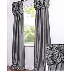 @Overstock - These ruched header drapes represent extravagant luxury that adds a new dimension to your window decor. This curtain panel is tailored from the finest shimmering faux silk taffeta in gorgeous tones with contrasting embroidered details.http://www.overstock.com/Home-Garden/Ruched-Header-Platinum-Faux-Silk-Taffeta-96-inch-Curtain-Panel/6506349/product.html?CID=214117 $119.99