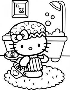 Dibujo de Hello Kitty en el baño para colorear ~ Dibujos para Colorear Infantil