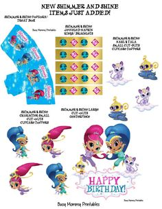 Shimmer and Shine Party Package Shimmer and by Busymommyprintables