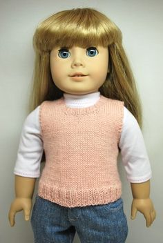DWD Free Pattern 24 – Easy Vest for American Girl Doll and other dolls of similar size: 1) http://www.dollswestdesigns.com/free-knit-patterns.html 2) http://www.dollswestdesigns.com/uploads/3/4/9/1/34910460/dwd_free_pattern_24.pdf