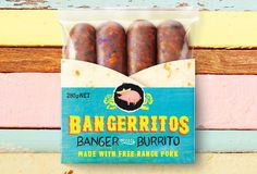 Bangerritos. Half sausage. Half burrito. By Curious Design & Watermark illustration