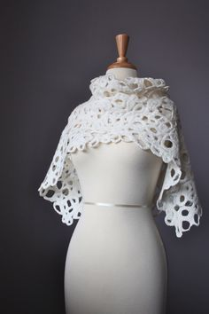 Felted scarf wool silk lace off White fashion by VitalTemptation, $78.00
