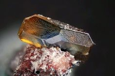 Anatase - Locality: Tachgagalt Mine, Ouarzazate Province, Souss-Massa-Draâ Region, Morocco  This amazing bi-coloured anatase crystal seems to be engraved as do the Moroccan craftsmen on copper or silver. Georges Favreau Collection.Jean-Marc Johannet's Photo