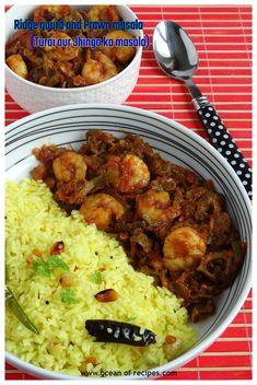 Ridge gourd and prawn masala (Turai aur Jhingha Masala) Prawn Masala, Prawn Curry, Garam Masala, Goan Recipes, Indian Food Recipes, Vegetarian Recipes, Tomato Curry, Lemon Rice