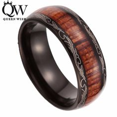 Queenwish Unisex 8mm Black Tungsten Carbide Ring Koa Wood Inlay Dome Comfort Fit Wedding Band Promise Rings for Couples