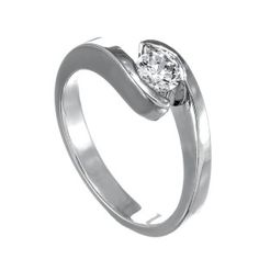 A diamond ring set in gold. It is set with One round brilliant I SI diamond. Diamond Rings, Diamond Jewelry, Wedding Rings, Engagement Rings, White Gold, Stone, Jewels, Future, Diamond Jewellery