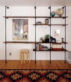 diy wall shelves - these are awesome. plus, you could add an extenstion - out - for hanging clothes