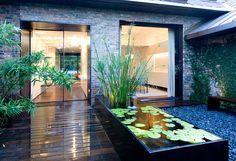 Raised pond in a modern yard