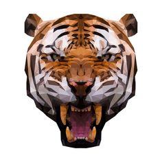 Polygon Tiger by Polygon Arts Polygon Art, Low Poly, Graffiti Art, Brain, Lion Sculpture, Statue, Patterns, Cats, Design