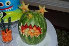 Second Birthday Party Ideas.  Monster Watermelon.