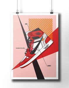 65c7b7a7da29c8 Nike Air Jordan 1 Off White poster   off-white   Trainer   Sneaker Art    wall art   nike trainer   o