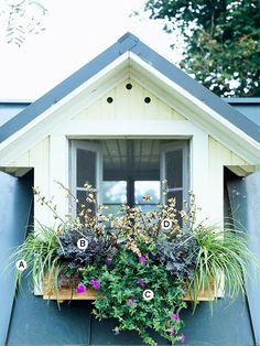 BHG: Tips for planting window boxes (includes plant names and varieties for reference).