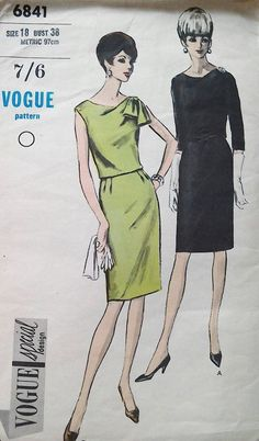 Vogue dress pattern 6841 special design bust 38 inches, waist 30, smart and…