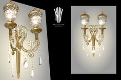 This custom-made wall light with high-quality, hand-cut glass is available in 24ct. gold plated with Swarovski crystals. Its beautiful detailing is achieved through top craftsmanship. Please feel free to contact us with any questions or for more information. www.kny-design.com Wall Lamps, Wall Lights, Ceiling Lights, Plates On Wall, Cut Glass, Swarovski Crystals, Sconces, Chandelier, Gold