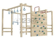 Wooden jungle gym or climbing frame with handholds, footholds and ropes isolated on a white background