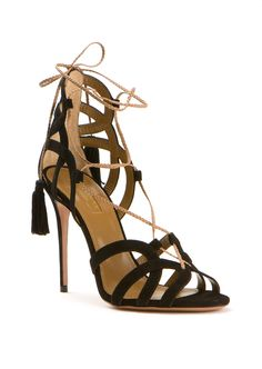 Aquazzura Mirage black suede sandals