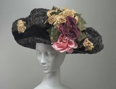 """Edwardian Hat at Boston Museum of Fine Arts. Circa 1910 Straw. Label: """"Miss Brady, Miss McMormack 2 Park Square Boston"""".  Brim measures 19.5 inches or 49.5 cm across. Straw and velvet."""
