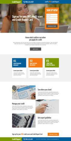 free credit score sign up lead generating responsive landing page