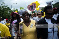 Lorita Geddie, who lost her son Joseph Cooer Jones at the age of 21 years, demonstrates against police brutality with other mothers from around the country at the Million Mom March, organized by Mothers for Justice, on May 9, 2015 in Washington, D.C. The march was a call to action in the wake of recent murders by police officers around the country.