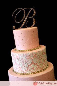 Cake Gold Pink And Black Wedding   Pink Ombre Damask Wedding Cake » Wedding Cakes