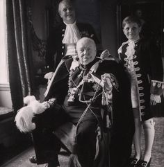 Portrait of Winston Churchill his son Randolph and his grandson Winston circa 1950s