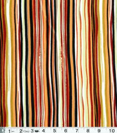 Famous Maker Apparel Fabric- Orange Black Stripe Knit, , hi-res